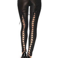 Gothic Wet Look Leggings with Lace up Back