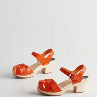 Swedish Hasbeens Sunflower to the People Heel in Clementine | Mod Retro Vintage Heels | ModCloth.com