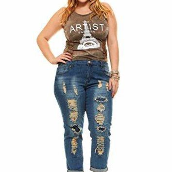 Plus Size Jeans For Women Distressed Skinny Ripped Jeans Slim Fit Stretchy Medium Blue Wash Plus Size 20