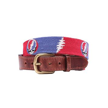 Steal Your Face Bolts Needlepoint Belt by Smathers & Branson