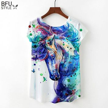 2018 Unicorn T-shirts Women Summer Clothing Loose Short Sleeve Top Harajuku Flamingo T Shirts Female Tees Sexy Girl Streetwear
