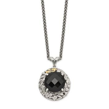 Sterling Silver Two Tone Silver And Gold Plated Sterling Silver w/Antiqued Onyx Necklace