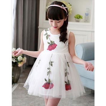 2017 Hot Cheap Ball Gown for Little Girls Lovely with Print Flowers Short Girl Dresses Sleeveless Pageant Dress Prom Party Dress