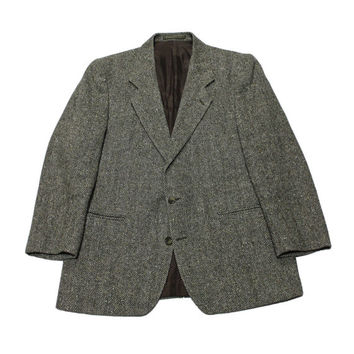 Vintage Gray Donegal Tweed Jacket Made in Ireland Mens Size 42S