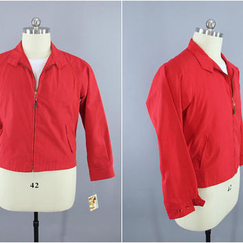1960s Vintage Jacket / 60s London Fog Windbreaker / Preppy Casual Nautical Classic Style Menswear / Red / Size 42