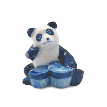 Miniature Musical Instrument Panda With Drum Delft Blue