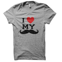 I Heart My Mustache Ladies T-Shirt -  tee guys shirt man boyfriend husband beard love stash