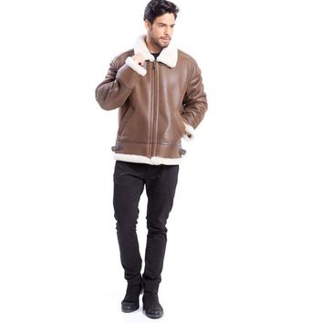 Winter Leather Shearling Jacket Bomber Flight Jacket Plus Sizes