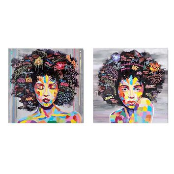 Modern African WomAn Portrait Canvas Wall Oil Painting Art Living Room