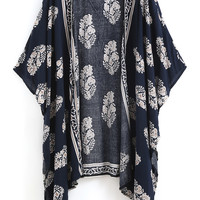 Floral Dress Spring - Fall Fashion Navy Vintage Floral Loose Kimono