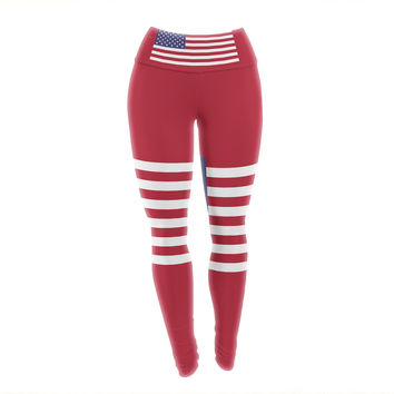 "Bruce Stanfield ""Flag of USA"" Contemporary Digital Yoga Leggings"