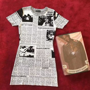 Balenciaga Fashion Newspaper Print Dress