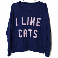 I Like Cats Raglan  Indigo Select Size by BurgerAndFriends on Etsy