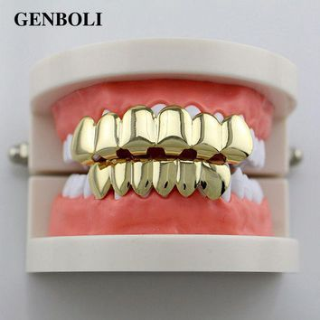 Genboli Gold Color Silver Plated Hiphop Hip Hop Teeth Grillz Caps Top & Bottom Teeth Grills Set + 2pcs Silicone Pad Body Jewelry