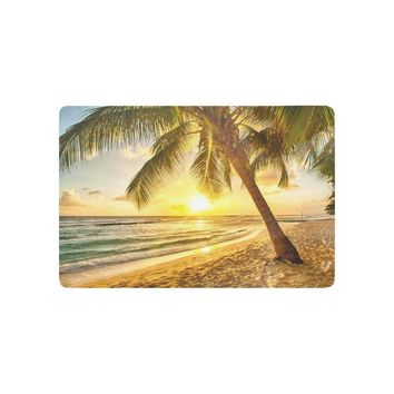 Autumn Fall welcome door mat doormat Nature Beach Theme Anti-slip  Home Decor, Beautiful Sunset over the Sea with Palm Tree View Indoor Outdoor  AT_76_7