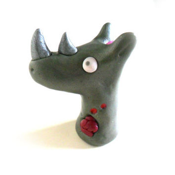 Zombie rhino figurine, african animal undead rhinoceros, figure in polymer clay