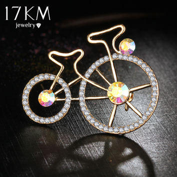 17KM New Crystal Enamel Pin Brooches for Women Rhinestone Bicycle Brooch Blucome Broche Lapel hijab Pins Scarf Brooch Clip