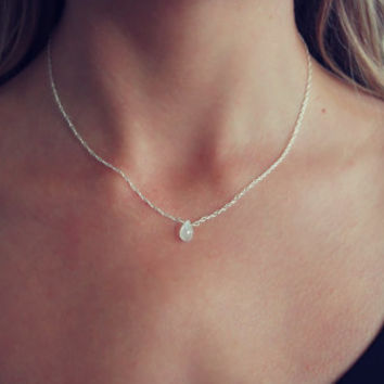 Moonstone necklace, gemstone necklace, silver necklace, meaningful jewelry, best friend gift, gifts for her, June birthstone