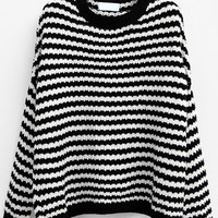 Black And White Round Neck Striped Knit Sweater