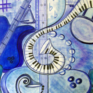ORIGINAL ABSTRACT ART on Canvas, Pastel Musical Themed Abstract Art on Canvas, Blue Pastel Musical Instruments Artwork by Artist