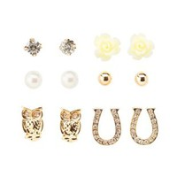 Gold Owl & Horseshoe Stud Earrings - 6 Pack by Charlotte Russe