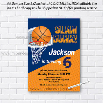 Basketball birthday party invitation, boy kids sport party for any age, little boy 3rd 4th 5th 6th 7th 8th 9th 10th  basket ball- card 89