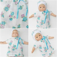 "FREE SHIPPING, bitty baby clothes, twin or girl 15"" doll EASTER Dress & Hat white turquoise purple flower adorabledolldesigns -summer!"