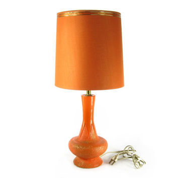 1961 Pieri Orange Lamp / Mid Century Mod Ceramic / 1960's Vintage Home Decor Lighting