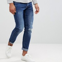 Only & Sons Skinny Medium Wash Jeans With Knee Rip at asos.com