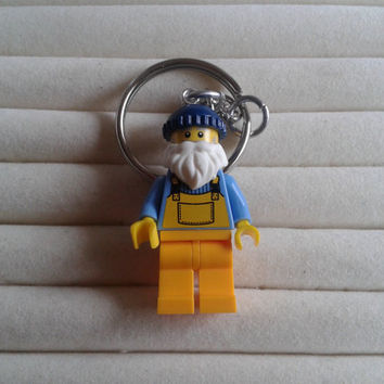 Fisherman  keychain keyring  made with LEGO® series 3 minifigure