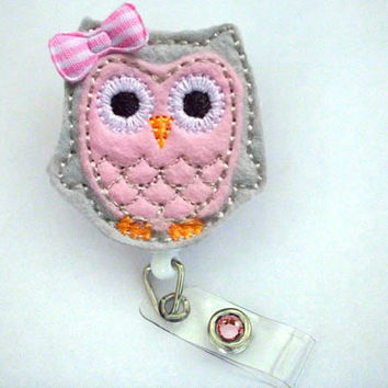 Cute Gray and Pink Owl - Name Badge Holder - Nurses Badge Holder - Cute Badge Reels - Unique ID Badge Holder - Felt Badge - RN Badge Reel