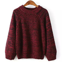 Round Neck Long Sleeve Loose Colorful Sweater