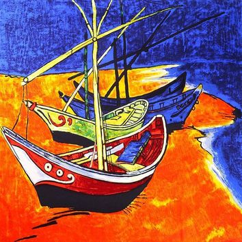 Van Gogh Fishing Boats Inspired Scarf