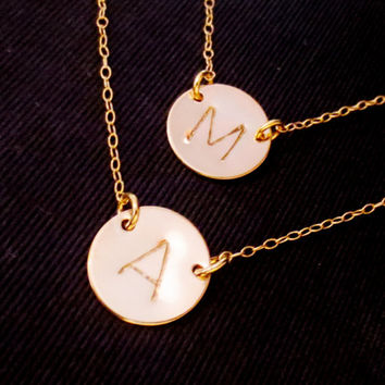 Layered Double Gold Disc Initial Necklace, Best Friends Handstamped Personalized, Sister Mom Aunt Gift, Valetines Mothers Day