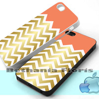 Salmon and Cute Faux Gold Chevron - Print on hardplastic for iPhone 4/4s and 5 case, Samsung Galaxy S3/S4 case.