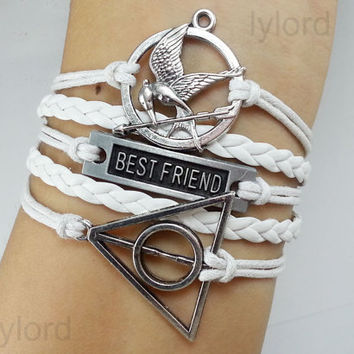 Best friend,Hunger games bracelet / antique brass Mockingjay, Katniss's arrow charm / The Deathly Hallows Bracelet / Harry Potter Jewelry