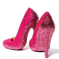 Pink Glitter Heels with Rose Swarovski Crystal Soles