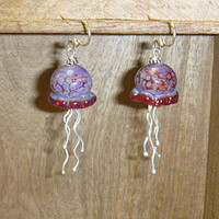 Handblown Glass Jellyfish Earrings jewelry women girls girlfriend wife