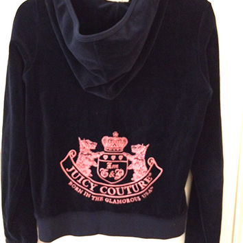 Juicy Couture Navy Blue Velour Track Jacket