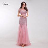 Finove Pink Prom Dresses Long 2017 New Mermaid Evening Dresses Crystal beadding Low Back Long Party Gowns Robe De Soiree