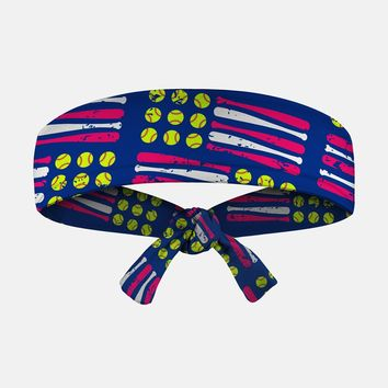 Softballs and Bats Tie Headband