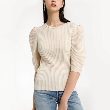 IVORY SHORT SLEEVE TWO PLY KNIT TOP