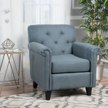 Teague Tufted Rolled Arm Club Chair