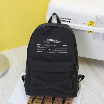 School Backpack trendy Funny Letter Printing Women's Large-capacity Backpack School Student Bag Harajuku Bandage Style Rucksack Shoulder Laptop Bags AT_54_4