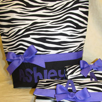 Custom Handmade Zebra print and purple  purse, wallet, and checkbook cover you choose name, font and color