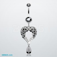 Heart Wings Crystalline Belly Button Ring