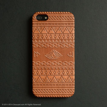 Real wood engraved aztec pattern iPhone case S043