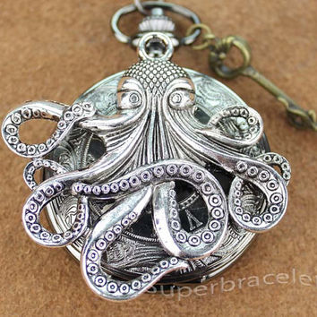 Octopus Pocket Watch Necklace Pendant Fashion Jewelry Vintage - gift for girlfriend and BFF