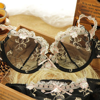 Fashion transparent sexy bra set plus size Women lace ultra-thin blue underwear set  32ABCD-42CD