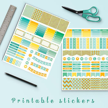50% SALE Mint And Gold Glitter Planner Stickers Printable Stickers Filofax Kikki K Box Stickers Page Flags Weekend Banners To Do Stickers